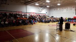 Lianne Ing speaking at the Destination Imagination Eastern Ontario Regional Tournament